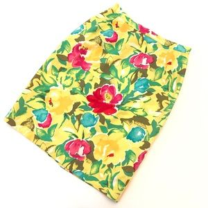 Adrienne Vittadini Yellow Water Color Floral Skirt
